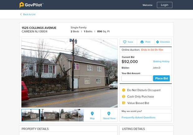 GovPilot online real estate auction services