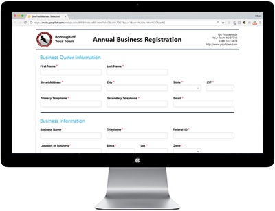 digital business registration form GovPilot government software