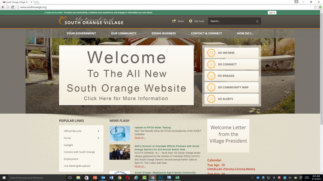 The homepage of South Orange's new and improved municipal website.