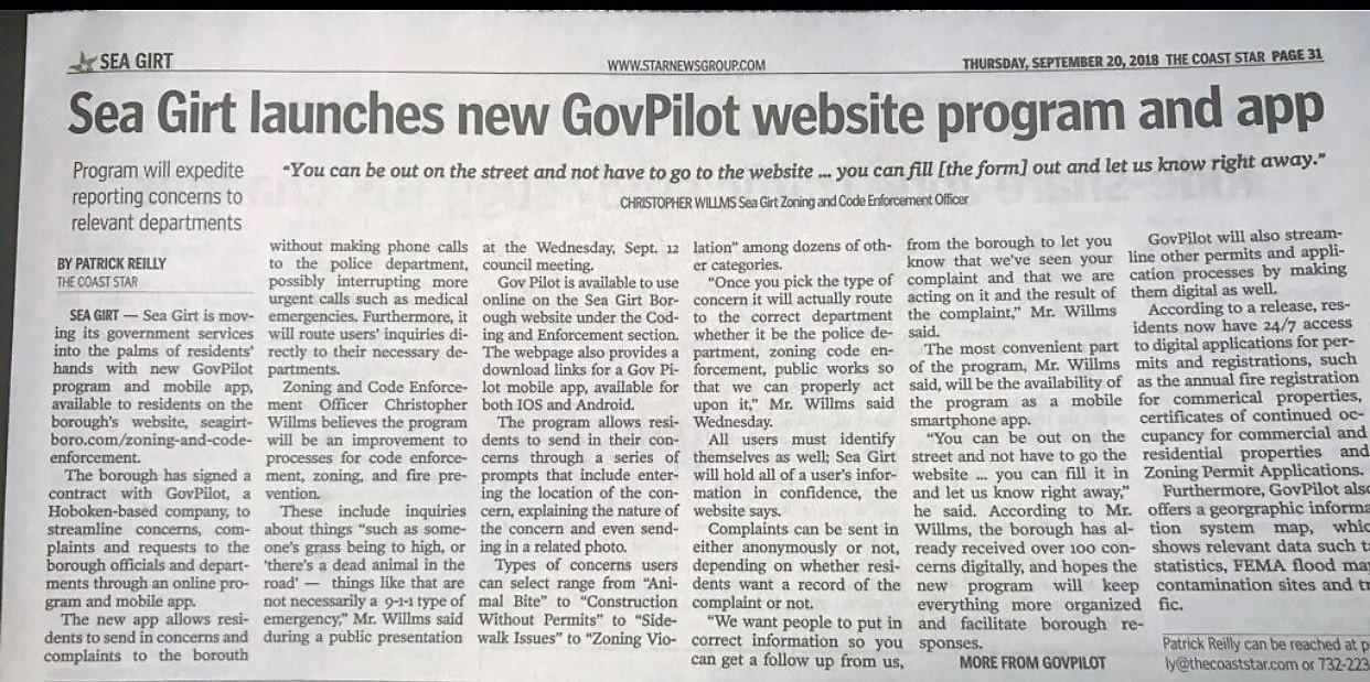 Good News for Sea Girt, NJ Residents