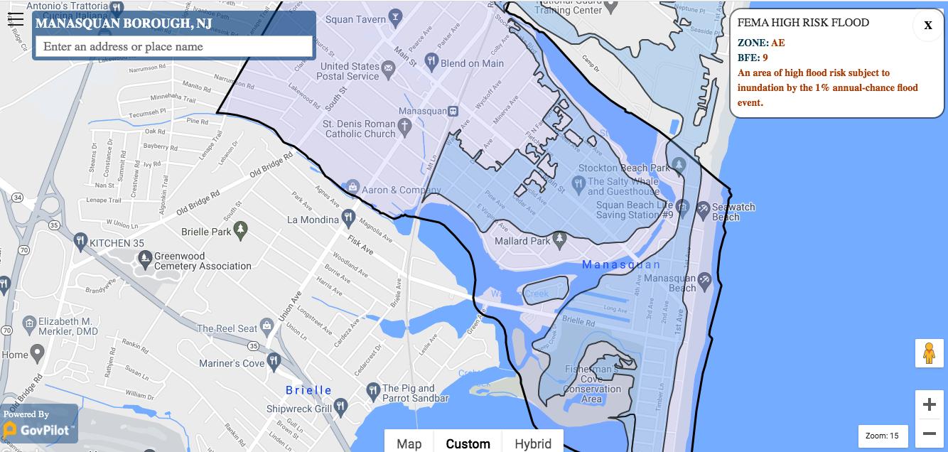 GovPilot GIS map of Manasquan, NJ